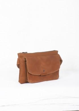 Brown leather belt bag ·...