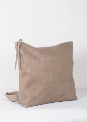 Gray leather backpack for...