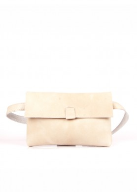 Nude small leather belt bag...