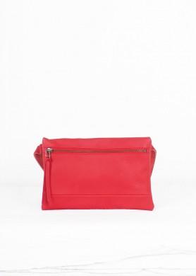 Red minimalist leather belt...