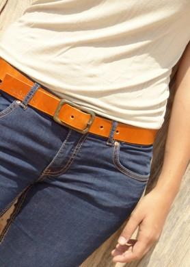 Rústic brown leather belt...
